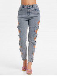 Bowknot Cut Side Fading Jeans -