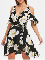 Plunging Neckline Floral Dress -
