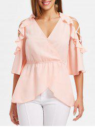 Cold Shoulder Blouse with Elastic Waist -