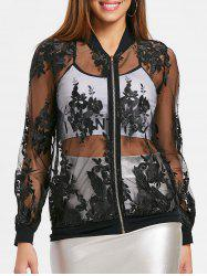 Embroidery See Through Mesh Jacket -