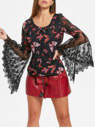 Butterfly Print Bell Sleeve Top -