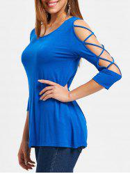 Scoop Neck Criss Cross Sleeve T-shirt -