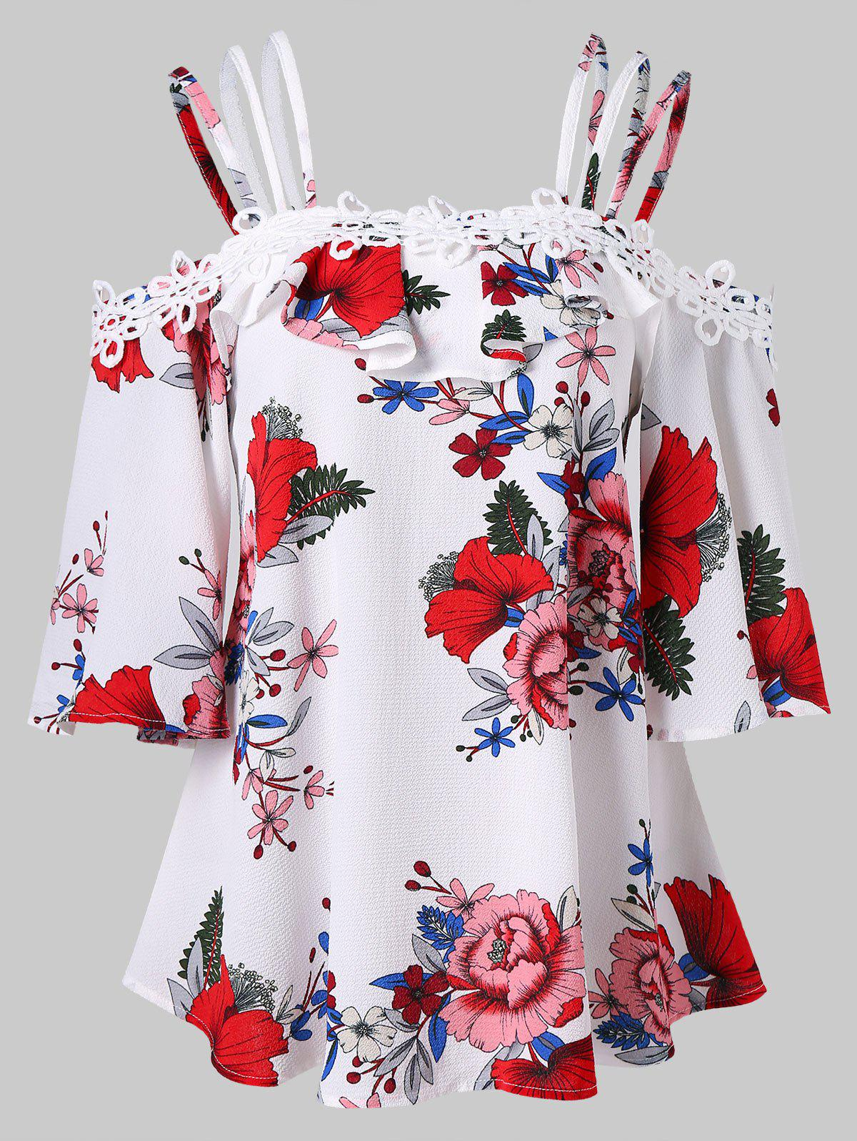 Hot Ruffled Spaghetti Strap Floral Blouse