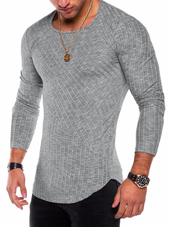 Online Long Sleeve Curved Hem Rib Patchwork Tee