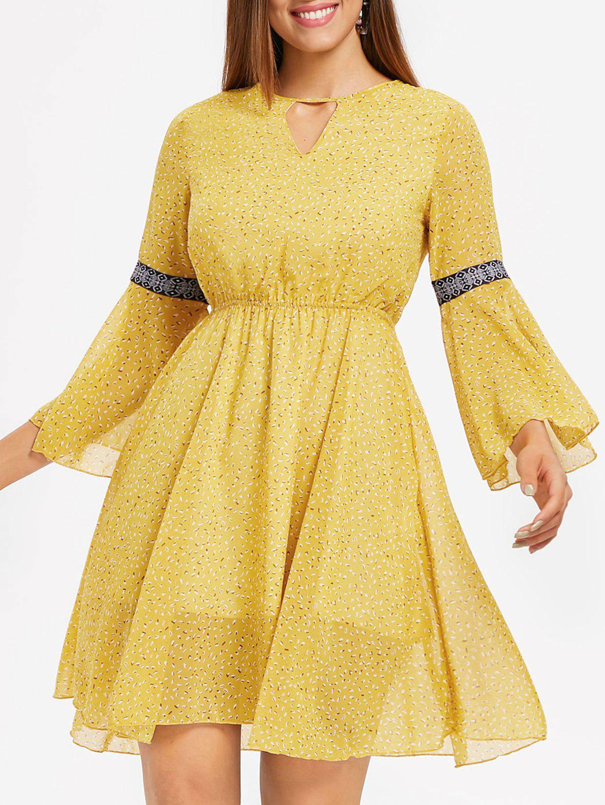 Unique Open Back Flare Sleeve Print Dress