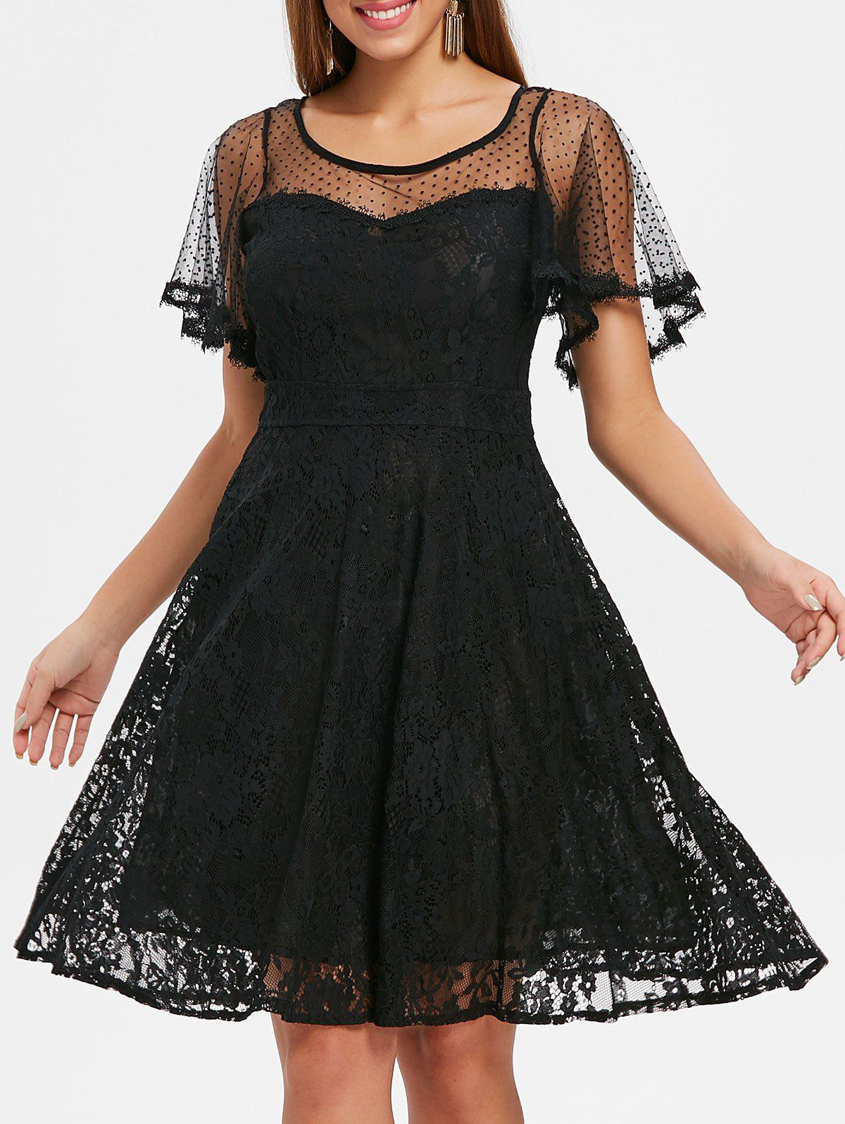Shops Polka Dot Lace Midi Dress