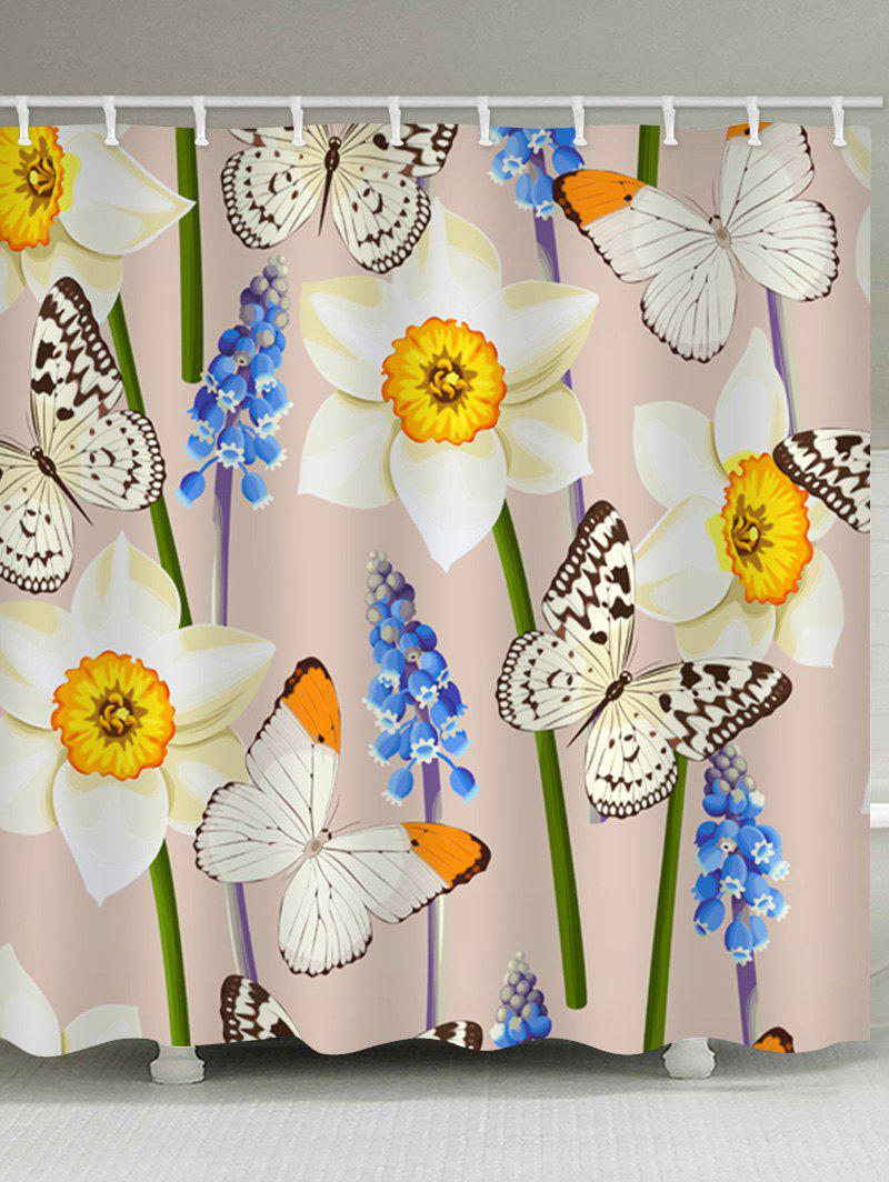 Discount Butterfly and Flower Print Waterproof Bathroom Shower Curtain