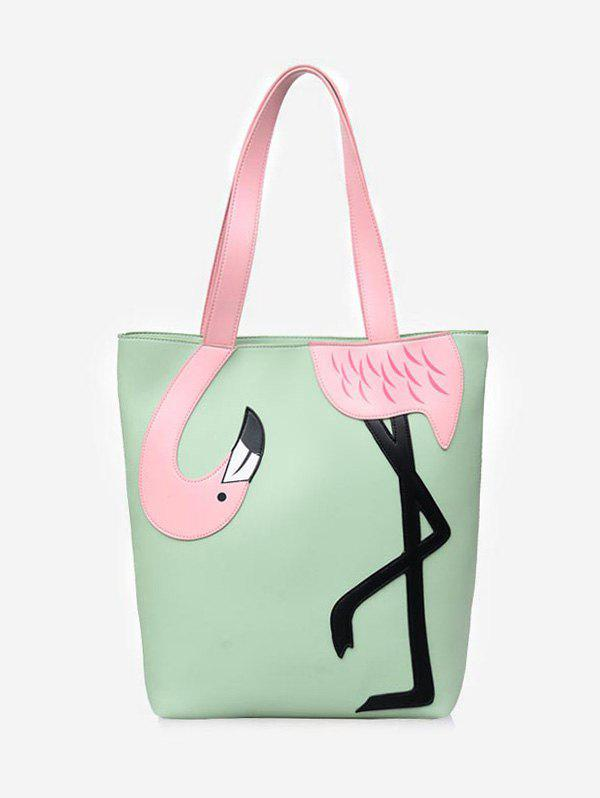 Fashion Contrasting Color PU Leather Flamingo Decorated Shoulder Bag