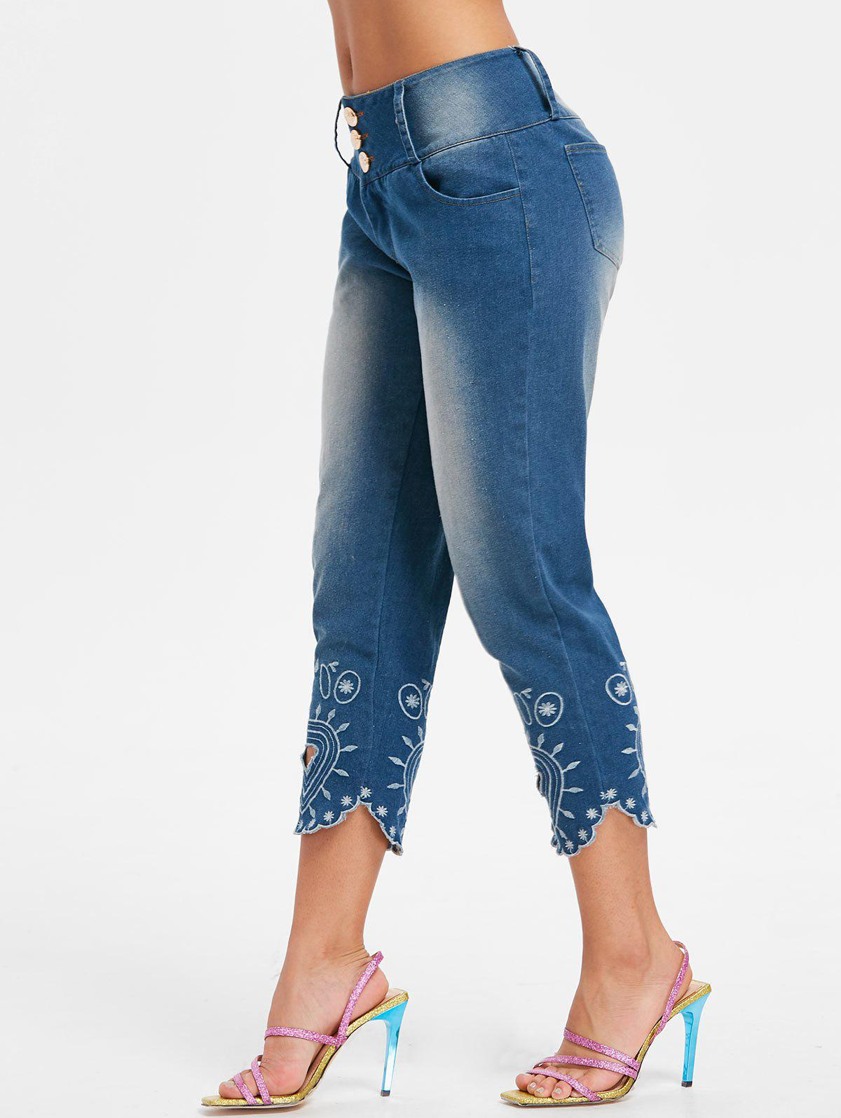 Affordable Embroidery Scalloped Jeans