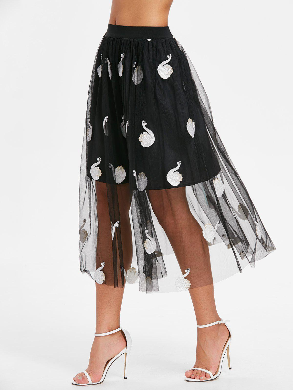 Shops Swan Embroidery Mesh Overlay Skirt
