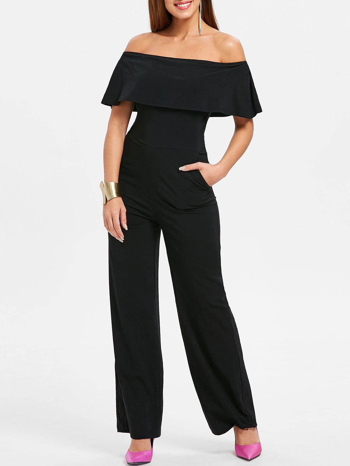 New Off The Shoulder Ruffle Insert Jumpsuit