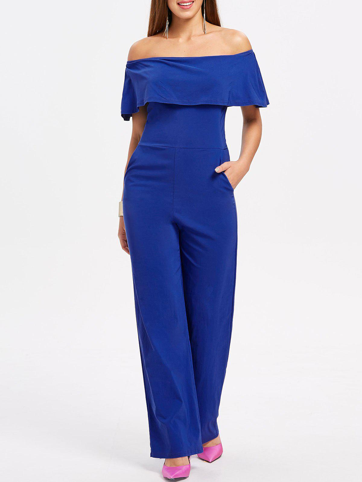 Latest Off The Shoulder Ruffle Insert Jumpsuit
