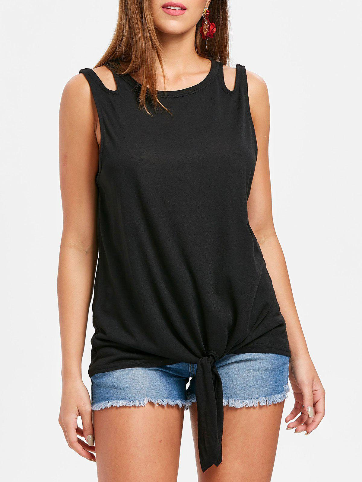 Fashion Round Neck Tie Front Tank Top