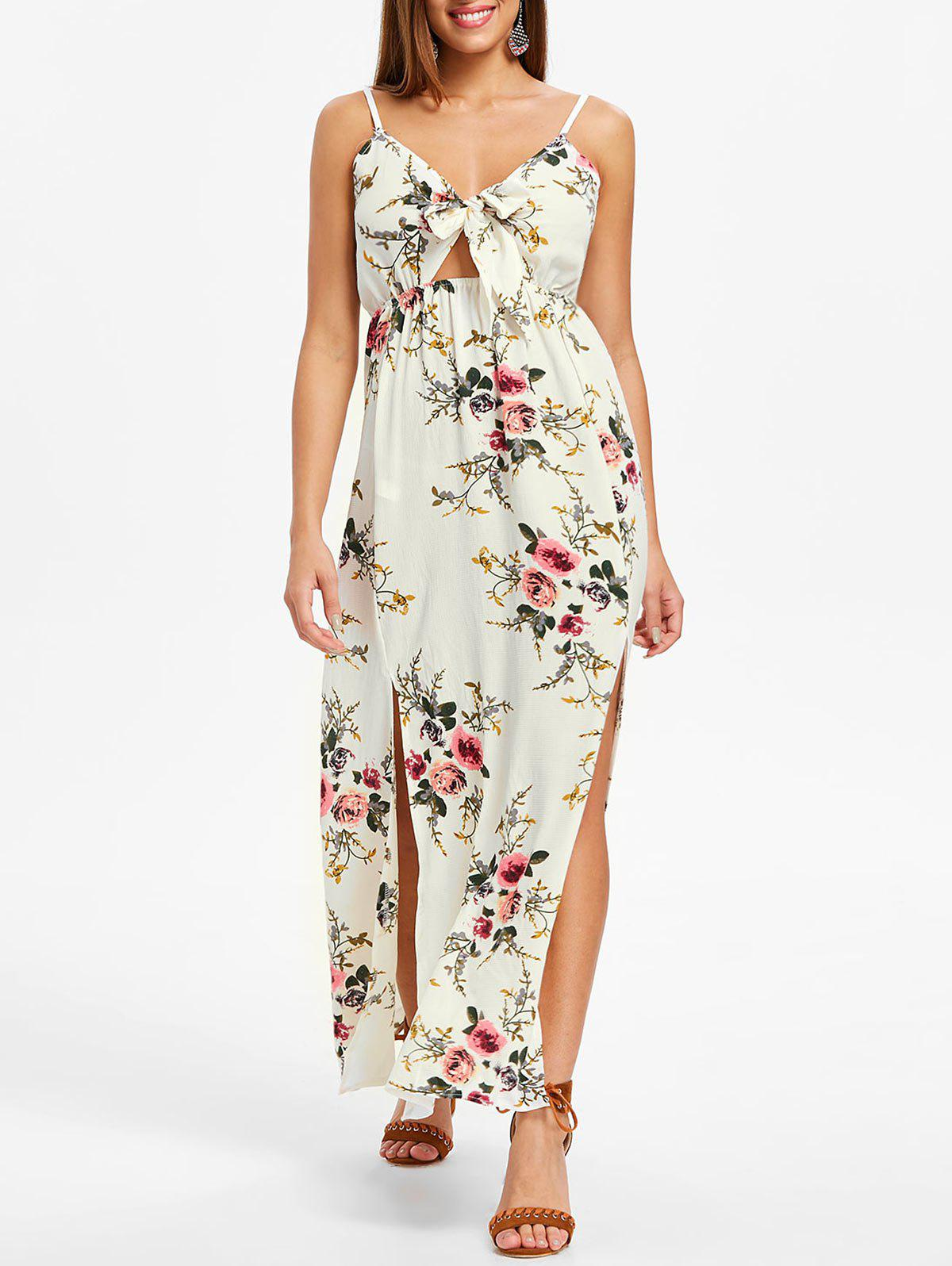 Latest Floral Print Front Slit Maxi Dress