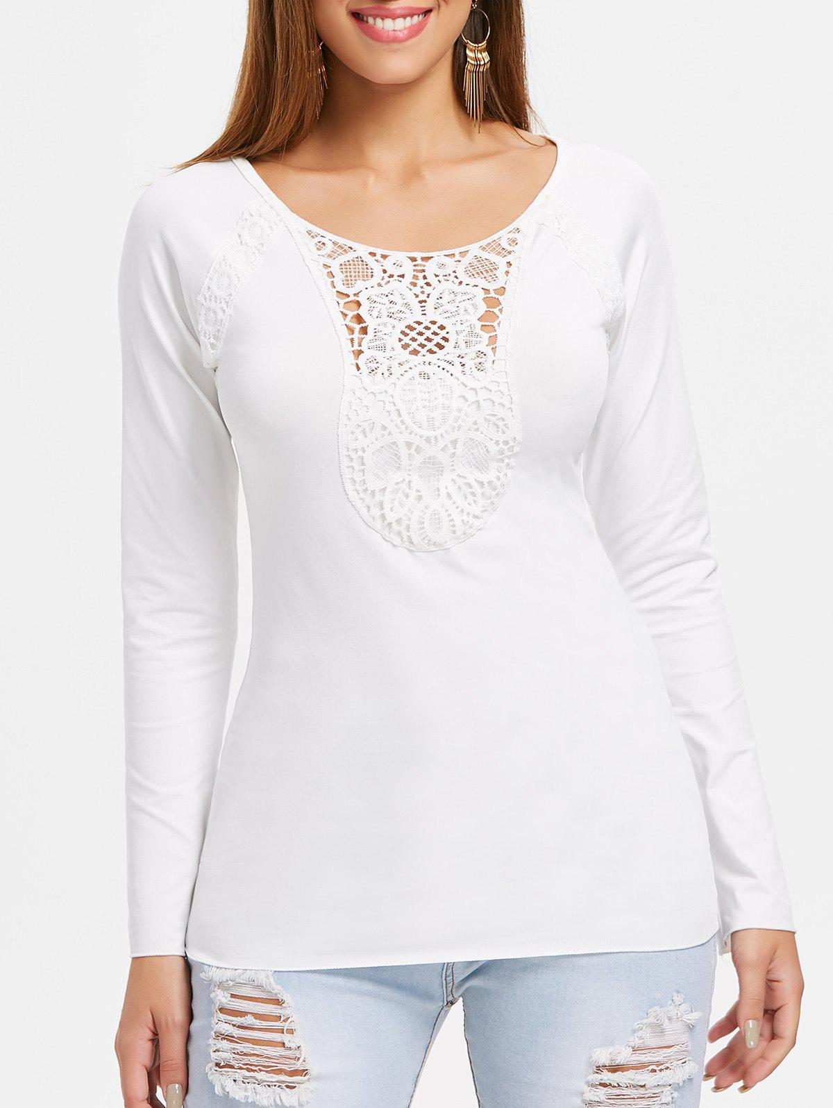 Discount Lace Panel Scoop Neck Plain T-shirt