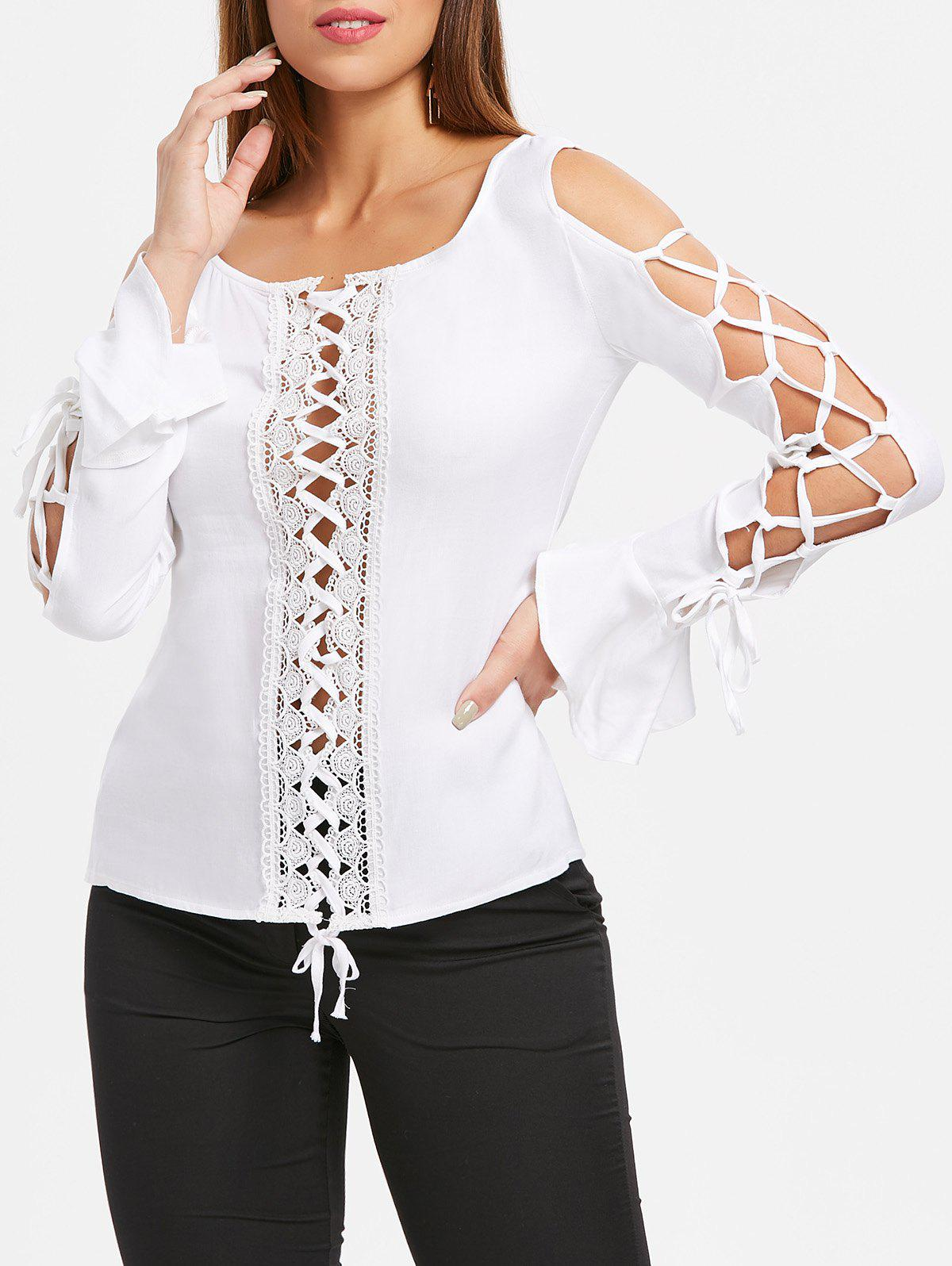 Best Lace Insert Lace Up Top