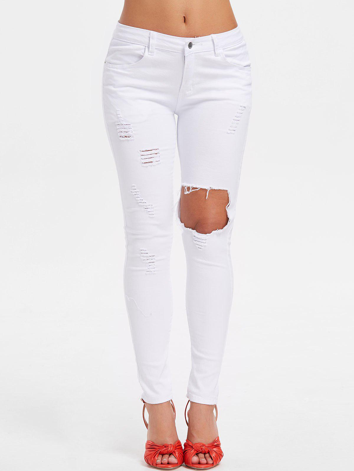 Cheap High Waist Torn Pants