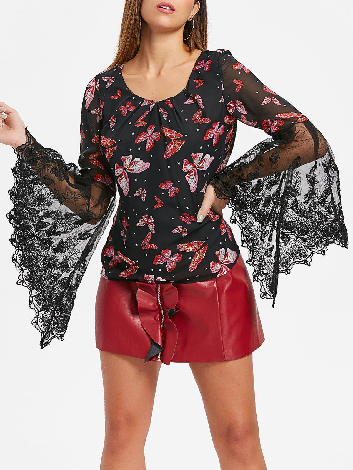 Discount Butterfly Print Bell Sleeve Top