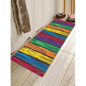 Colorful Wooden Board Pattern Flannel Skidproof Area Rug -