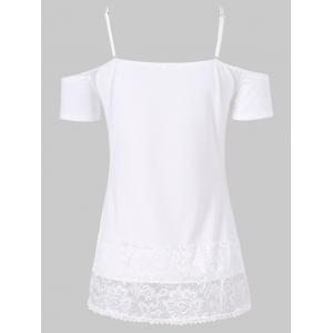 Cold Shoulder Lace Insert Embroidered Tee -