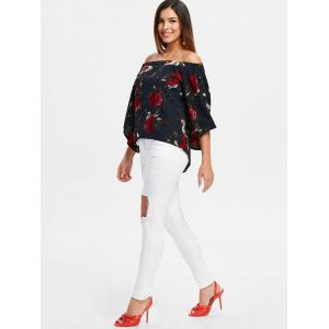 Back Slit Floral Off Shoulder Blouse -