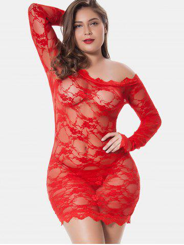 f4ce826d1f Plus Size Off Shoulder Lingerie Dress