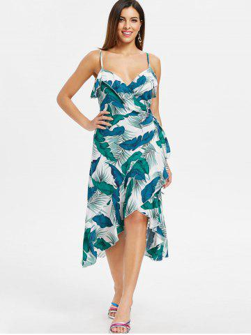 Palm Leaf Print Spaghetti Strap Wrap Dress