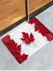 Maple Leaf Flag Print Flannel Skidproof Area Rug -
