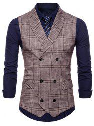 Flap Pockets Double Breasted Check Waistcoat -