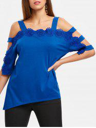 Applique Ladder Cut Out Asymmetrical T-shirt -