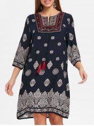 Embroidered Ethnic Print Dress -