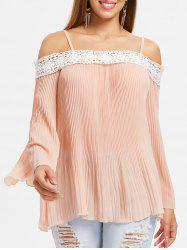 Open Shoulder Lace Insert Pleated Blouse -