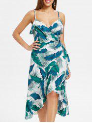 Palm Leaf Print Spaghetti Strap Wrap Dress -