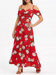 Open Shoulder Casual Floral Dress -