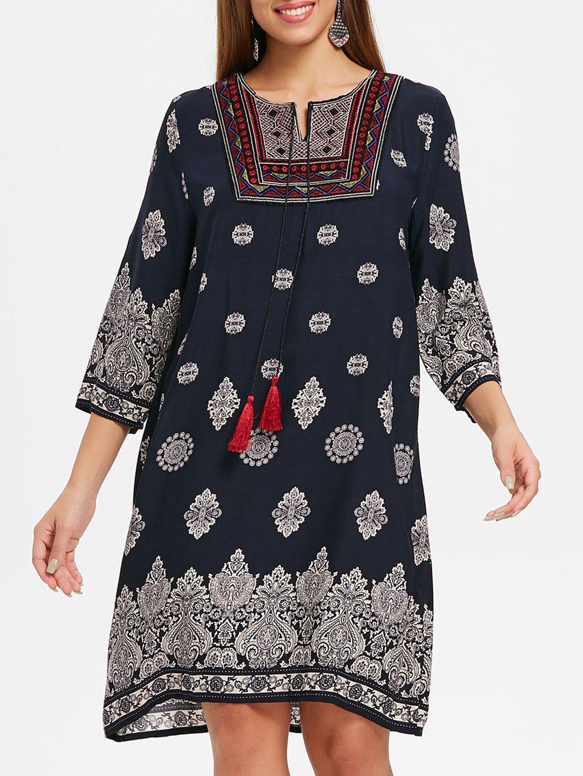 Shop Embroidered Ethnic Print Dress