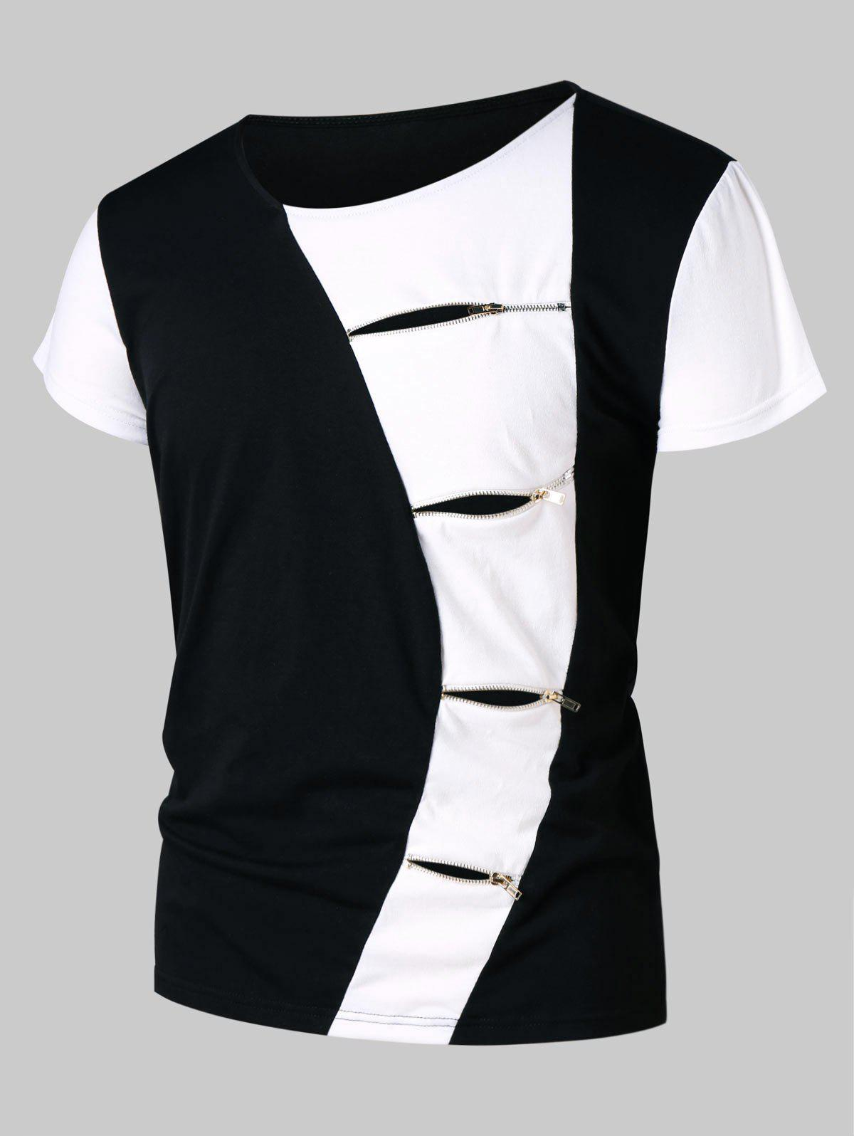 Fancy Zipper Embellished Color Block Ripped T-shirt