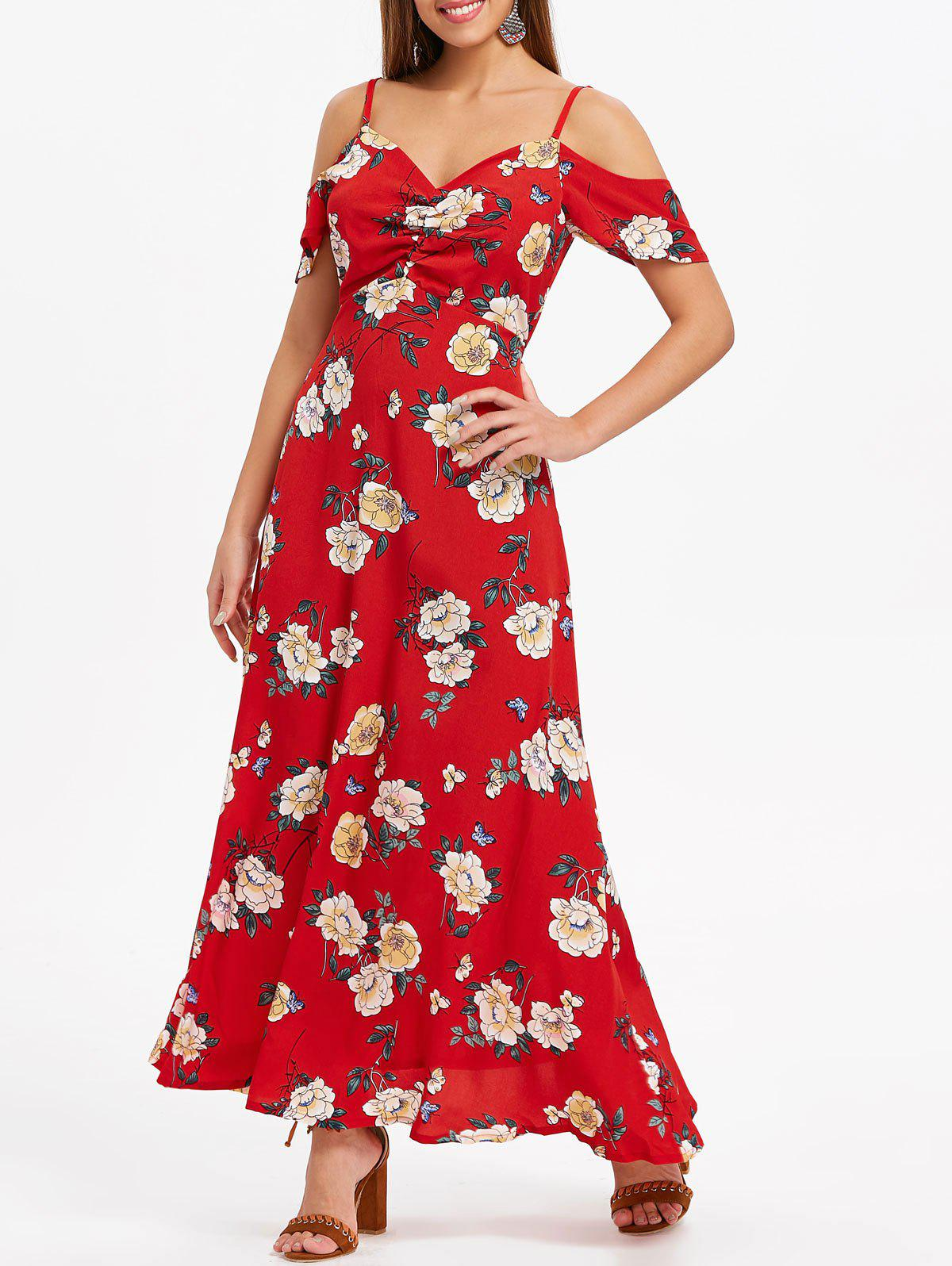Affordable Open Shoulder Casual Floral Dress