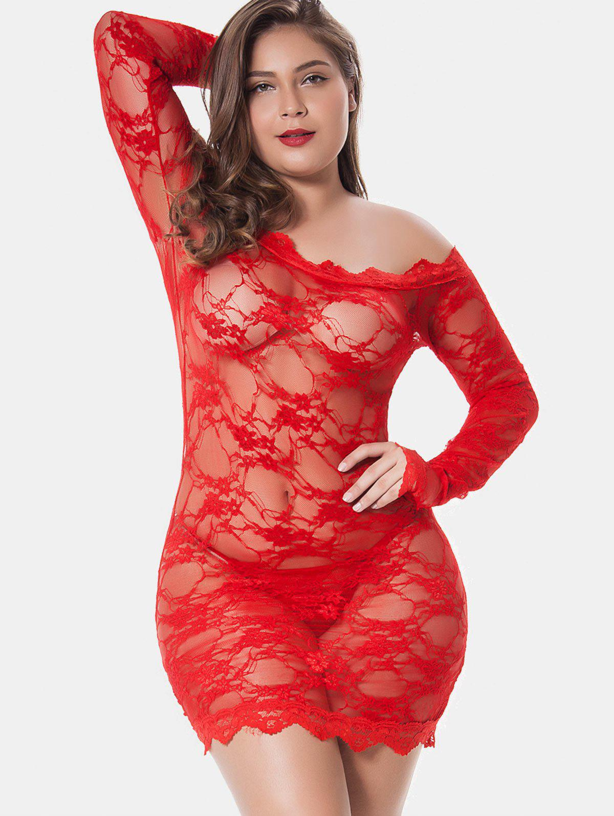 Latest Plus Size Off Shoulder Lingerie Dress