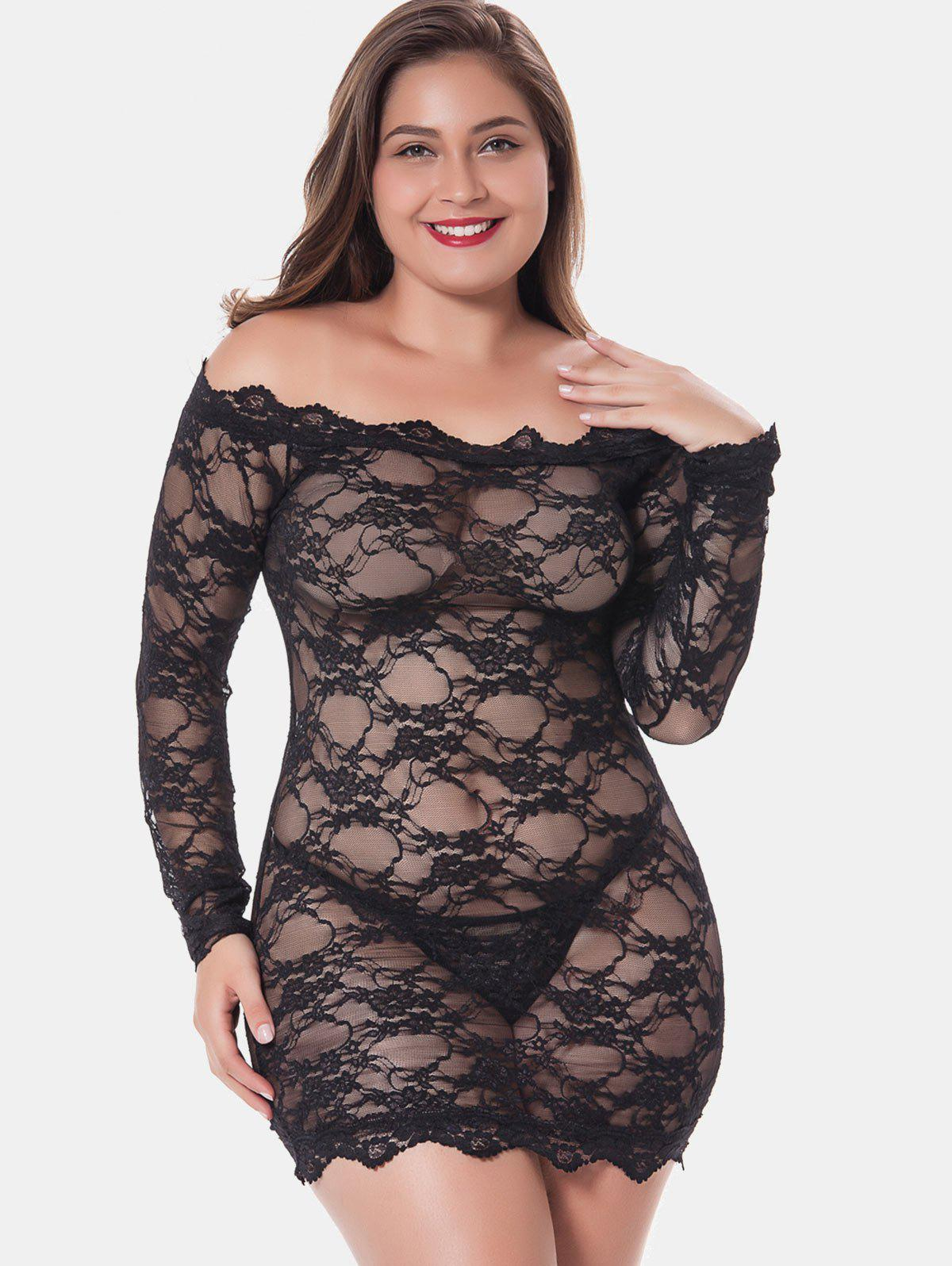 Outfit Plus Size Off Shoulder Lingerie Dress
