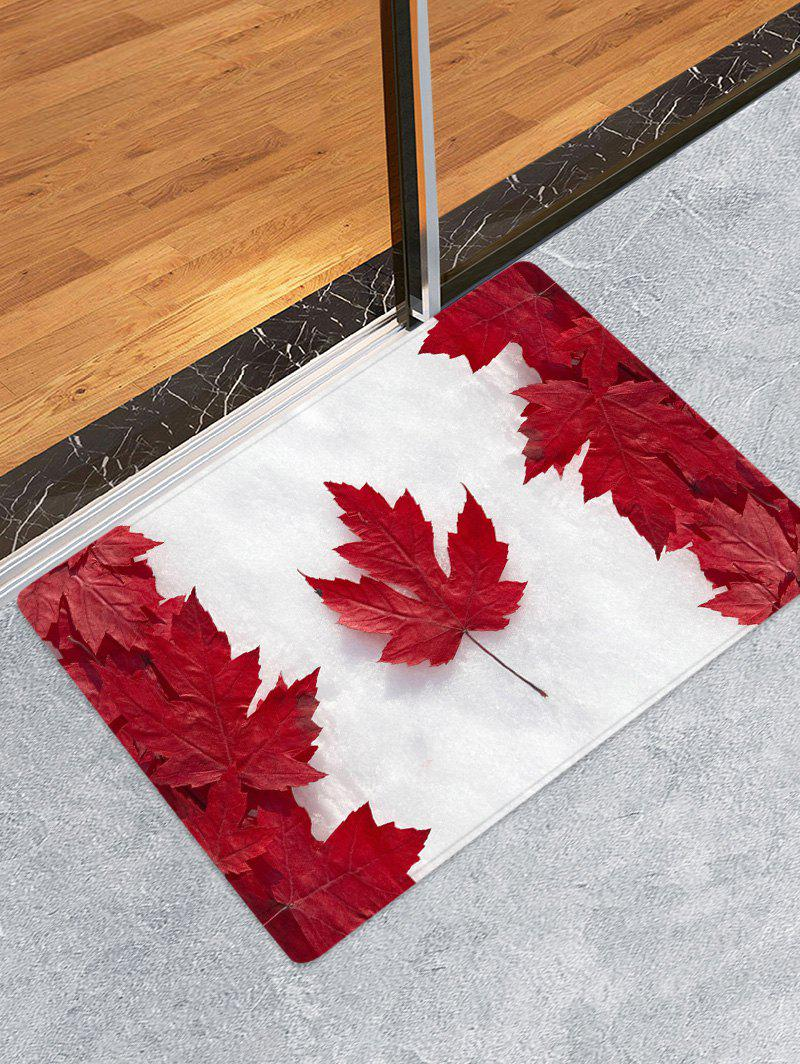 Maple Leaf Flag Print Flannel Skidproof Area Rug, Fire engine red