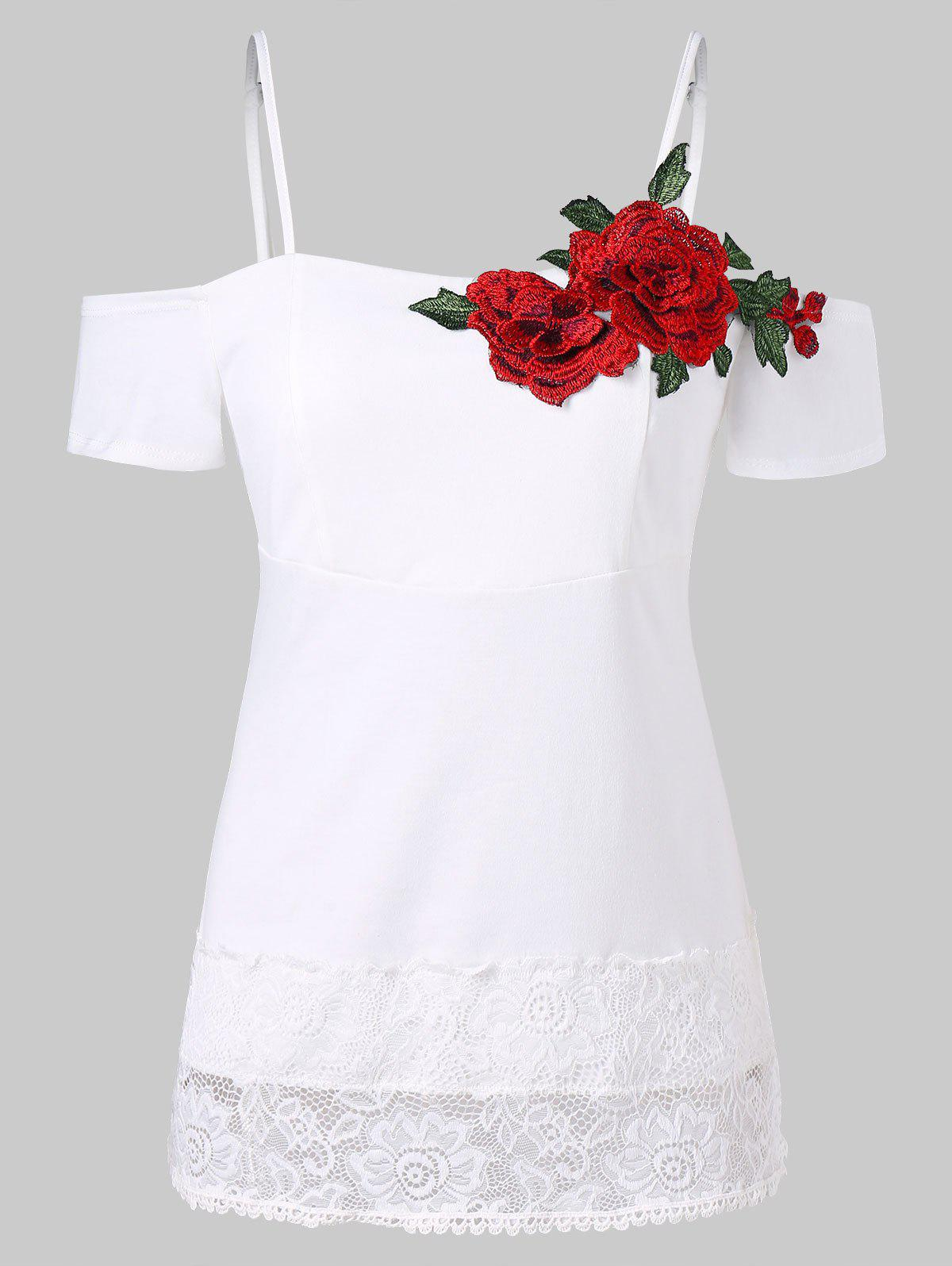 Online Cold Shoulder Lace Insert Embroidered Tee
