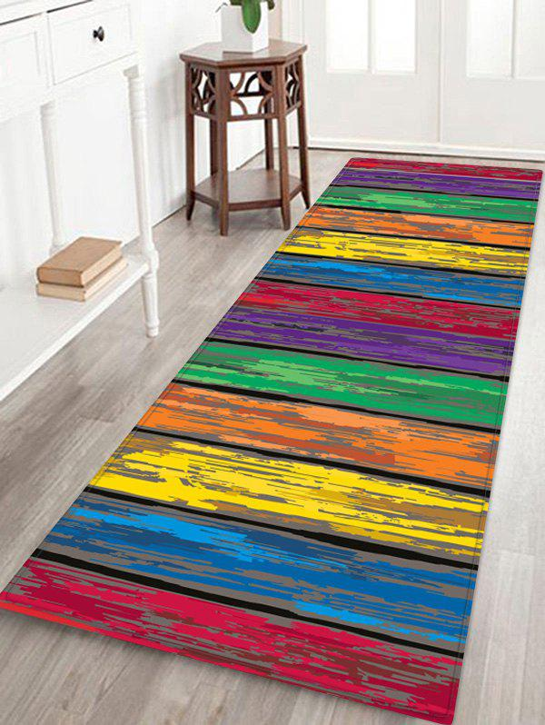 Fashion Colorful Wooden Board Pattern Flannel Skidproof Area Rug
