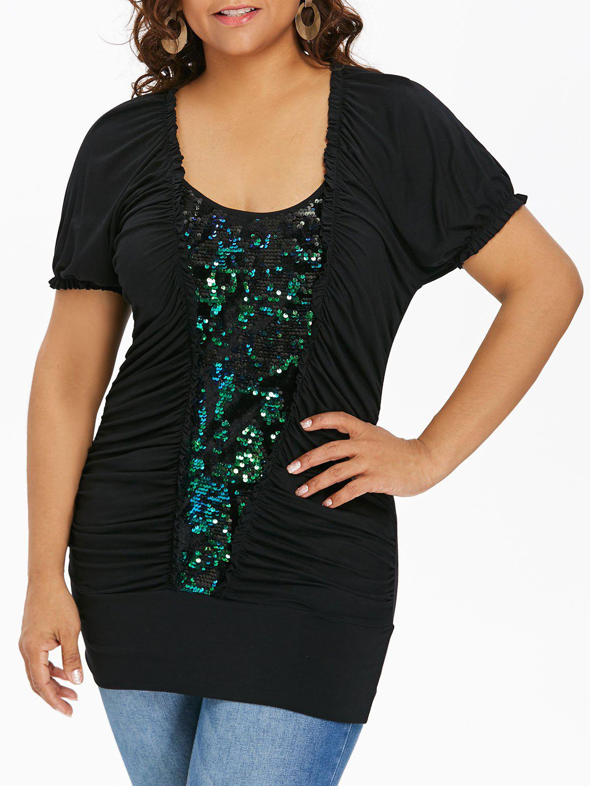 Online Plus Size Ruched Glittery T-shirt