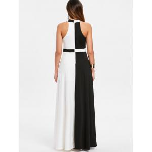 Color Block Sleeveless Floor Length Dress -