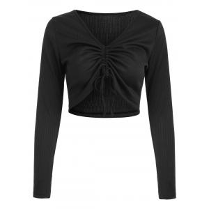 Ribbed Ruched Crop Top -