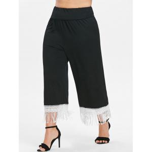 Plus Size Lace Trim Fringed Pants -