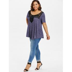 Plus Size Crochet Lace Swing T-shirt -