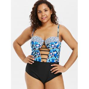 Ladder Cut Out Plus Size Butterfly Print Swimwear -