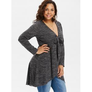 Plus Size Tie Front Marled Tulip T-shirt -