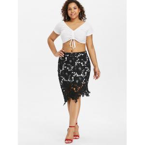 Plus Size Cutwork Lace Skirt -